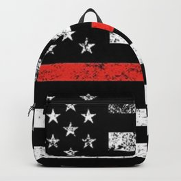Firefighter Red Line American Flag Backpack