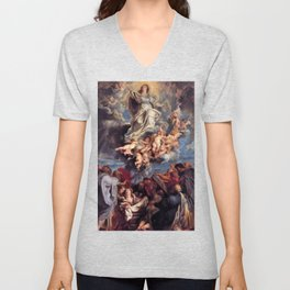 Pieter-Paul Rubens; Assumption of the Devine and Holy Virgin Mary Unisex V-Neck