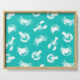 Crab Lobster Blue White Seafood Pattern Serving Tray