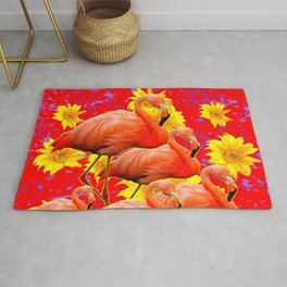 YELLOW FLOWERS & 5 RED  SAFFRON FLAMINGOS ART Rug