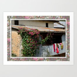 RUSTIC FRONT PORCH IN NEPALI BLOOM Art Print