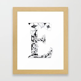 Floral Pen and Ink Letter E Framed Art Print
