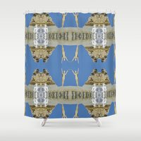 salvador dali Shower Curtains featuring Salvador Dali Tribute  by Louisa Catharine Art And Patterns