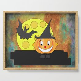 Funny laughing pumpkin head with bat and moon Serving Tray