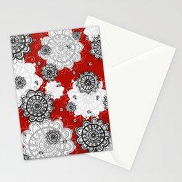 Ladybug Mandalas on red Stationery Cards
