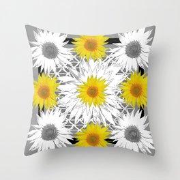 Decorative B&W Yellow-White Sunflowers Throw Pillow