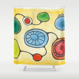 Watercolor Orbs N Lines 13 Shower Curtain
