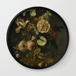 Rachel Ruysch - Still Life With Flowers On A Marble Tabletop Wall Clock