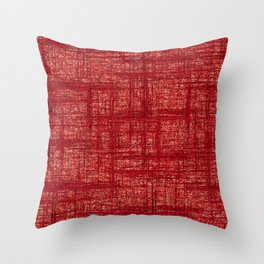 Textured Tweed - Brick Red Throw Pillow