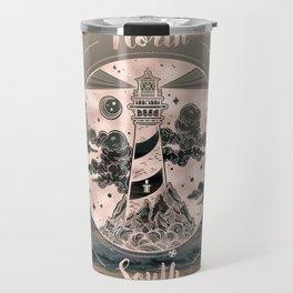 Lighthouse Compass Ocean Sunset Rose Gold Travel Mug