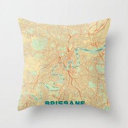 Brisbane Map Retro Throw Pillow