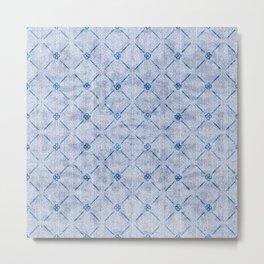 Textured Faux Velvet Light Blue Diamond Pattern Metal Print