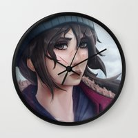 tomb raider Wall Clocks featuring Rise of the Tomb Raider by Massimo Magnago