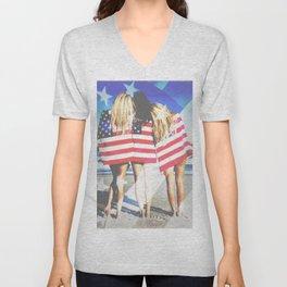 Sexy Americana Beach Girls Unisex V-Neck