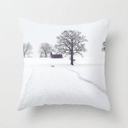 Rural Winter Landscape Throw Pillow