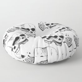 GEMINI - twins - conjoined skull zodiac series doodle Floor Pillow