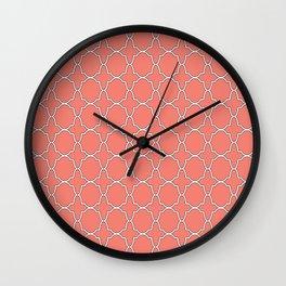 Salmon Pink Quatrefoil Pattern Wall Clock