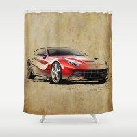 ferrari Shower Curtains featuring Ferrari F12 red awesome ferrari by Larsson Stevensem