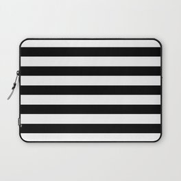 Midnight Black and White Stripes Laptop Sleeve
