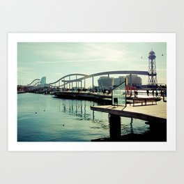 Barcelona: Bridge of the Port Art Print
