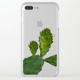 Cactus man with flower Clear iPhone Case
