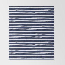 Navy Blue Stripes on White II Throw Blanket