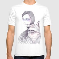 Wolf Like Me White MEDIUM Mens Fitted Tee