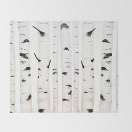 birch  watercolor Throw Blanket