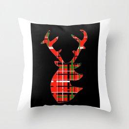 Plaid Xmas Deer Throw Pillow