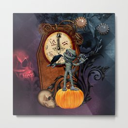 Funny mummy with skulls, crow and pumpkin Metal Print