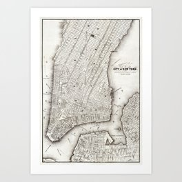 Map of the city of New York (ca 1850) from Library of Congress Geography and Map Division Washington Art Print