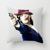 agent carter Throw Pillows featuring AGENT CARTER Reporting for Duty by Danielle Aragon