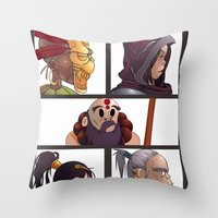 gorillaz Throw Pillows featuring Diablo Days by Philtomato