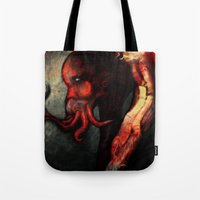 cthulu Tote Bags featuring Are you there Cthulu? it's me... by Richard Bailey