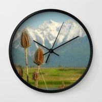 the mountains are calling Wall Clocks featuring THE MOUNTAINS ARE CALLING by Jennifer E. Snyder