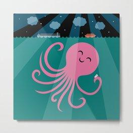 Octopus Selfie at Night Metal Print