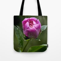 peony Tote Bags featuring Peony by Christina Rollo