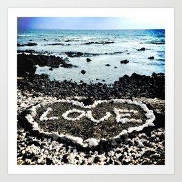 """Hawaii Black Sand Beach & Coral """"Love"""" Heart Photo Art Print"""