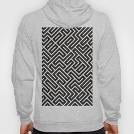 Black & White Geometric Pattern Funky Retro 70s Style Mid Century Maze Hoody