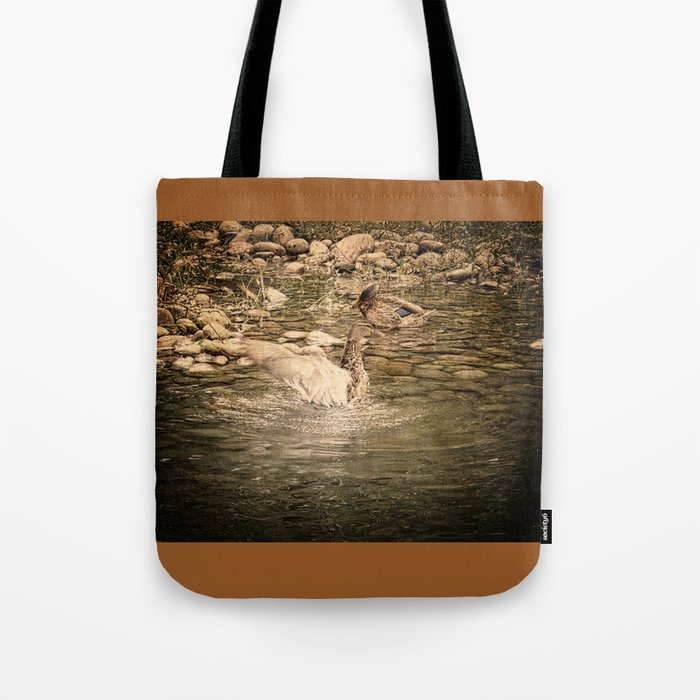 Mallard Duck Flapping Wings in Water Tote Bag