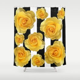Yellow Roses on Black & White Stripes Shower Curtain