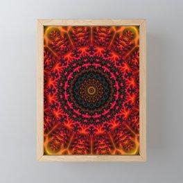 Fiery Fractal Mandala Framed Mini Art Print