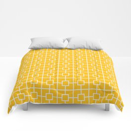 Amber Yellow Square Chain Pattern Comforters