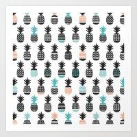 Cool pineapple summer fresh illustration pattern Art Print