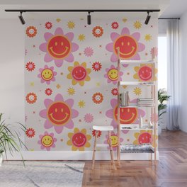 Smiling Flower Faces  Wall Mural