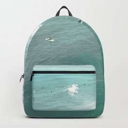California Surf // Coastal Spring Waves Teal Blue and Green Ocean Huntington Beach Views Backpack