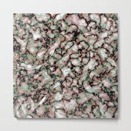 Beige Black & Mint Marble Texture Metal Print