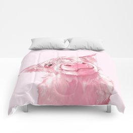 Highland Cow Pink Comforters