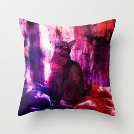 The Sunkissed Abyssinan Cat from Planet Kitarus Throw Pillow