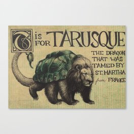 Alphabestiary T - Tarusque Canvas Print